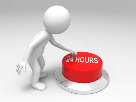 24 hours  A man is pushing the button Stock Photo - 15454059