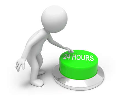 24 hours  A man is pushing the button Stock Photo - 15453922