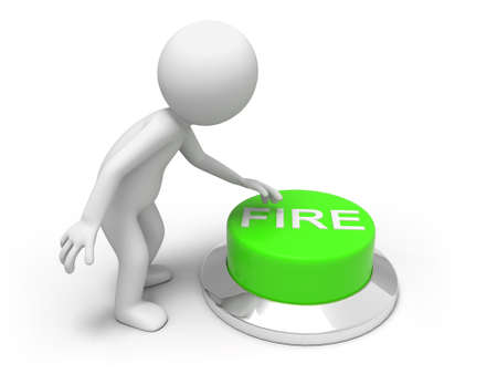 fire  A man is pushing the button Stock Photo - 15453941