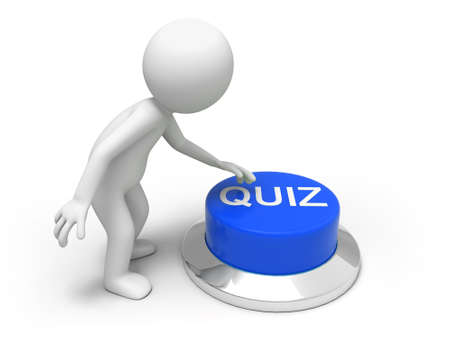 kwis: quiz Een man is op de knop te drukken