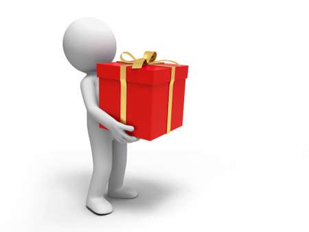 petit homme: Cadeau Un peuple qui maintiennent le bo�tier cadeau Banque d'images