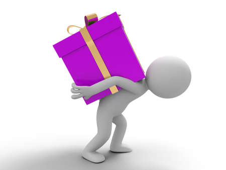 3d small people: Heavy gift  One difficult carrying the gift box Stock Photo