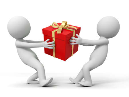 holiday shopping: gift  Two people are fighting for a gift