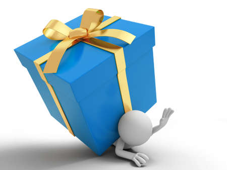 pinning: Gift  a people is pinning down by a gift box Stock Photo