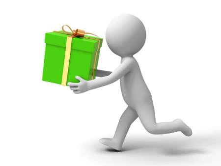 Regalo de un pueblo se está ejecutando con una caja de regalo