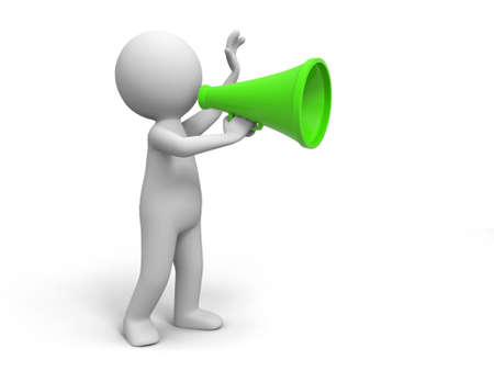 notify: Promotion   A people in using the megaphone Stock Photo