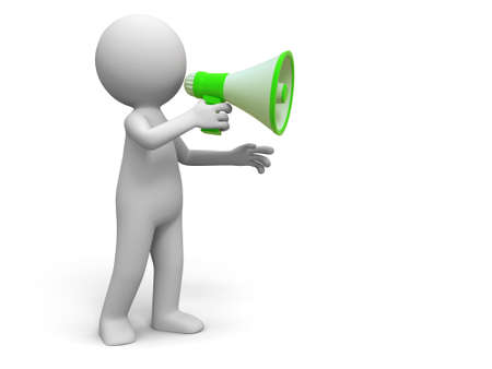 assert: Promotion   A people in using the megaphone Stock Photo