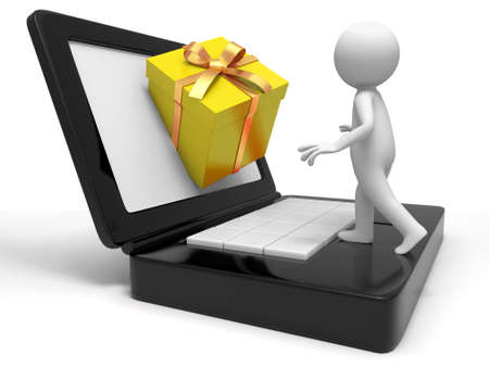 Gift  a people to receive a gift from the computer photo