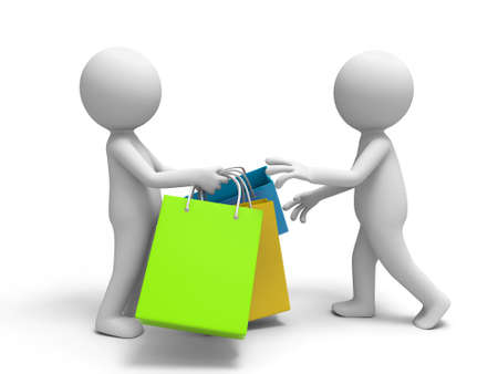 mujer en el supermercado: Compras se pasaba algunas bolsas de la compra a la otra