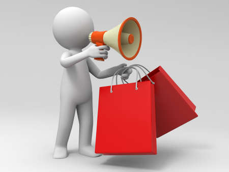 satisfied customer: Shopping bags  a people is using a megaphone