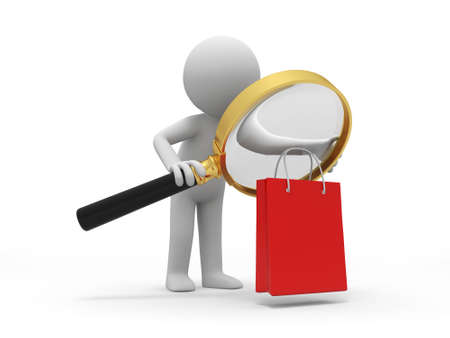 shopping  a people is looking at the shopping bag with a magnifier Stock Photo - 15448494
