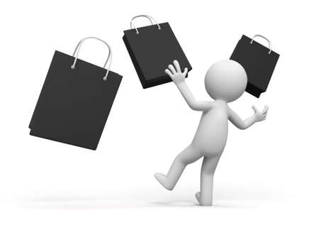 shopping   a people is looking at some shopping bags in surprise Stock Photo - 15448383