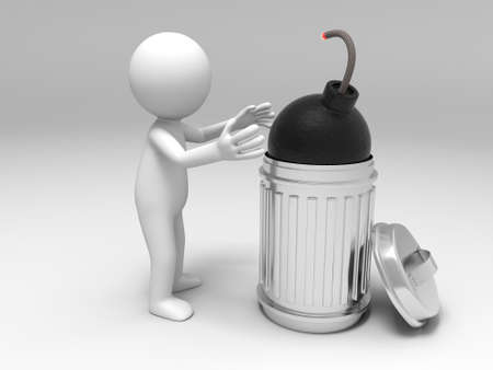 Bomb Crisis bomb and trash can Stock Photo - 15448299