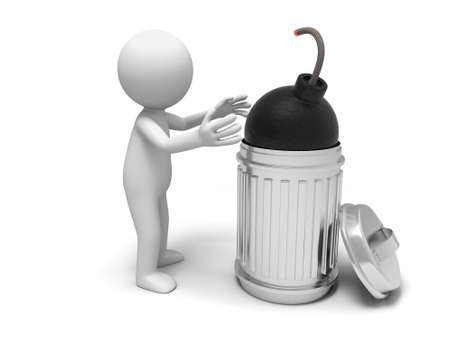 Bomb Crisis bomb and trash can Stock Photo - 15448290