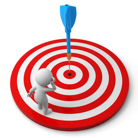 dart board: Darts target a people is standing on a dartboard thinking