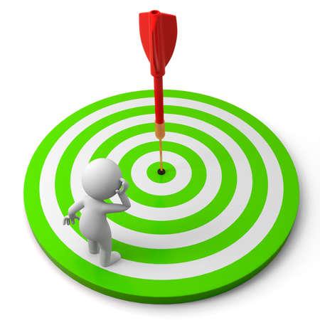 target thinking: Objetivo Dardos un pueblo est� de pie sobre un pensamiento diana