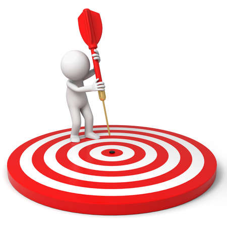 Darts target a people is standing on the dartboard with a dart Stock Photo - 15447917