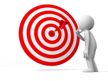 target thinking: Blanco de los dardos de un pueblo est� de pie frente a la diana pensar
