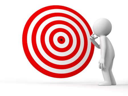 dartboard: Darts target a people is standing in front the dartboard thinking