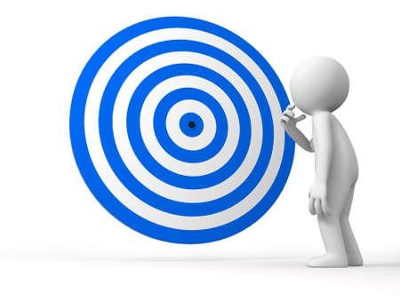 target thinking: Objetivo Dardos un pueblo est� de pie delante de la diana pensando