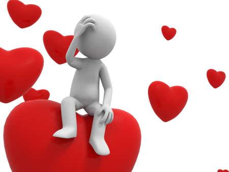 marioneta: Love A pepple está de pie sobre una thingking corazón