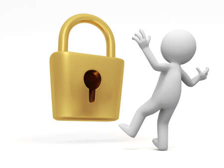 gold keyhole: lock  a people is standing in front of a lock thinking