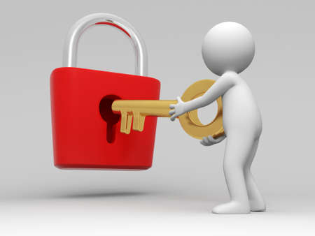 gold keyhole: Lock and key A people open a lock with a key