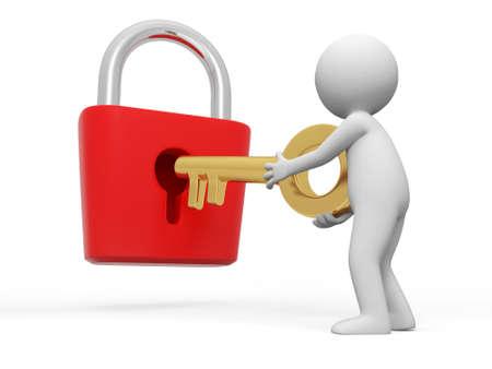 contrase�a: Cerradura y una llave gente abrir una cerradura con una llave