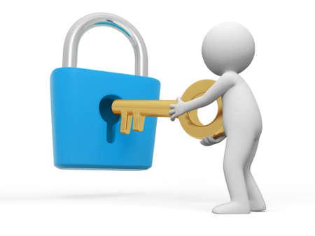 password: Cerradura y una llave gente abrir una cerradura con una llave