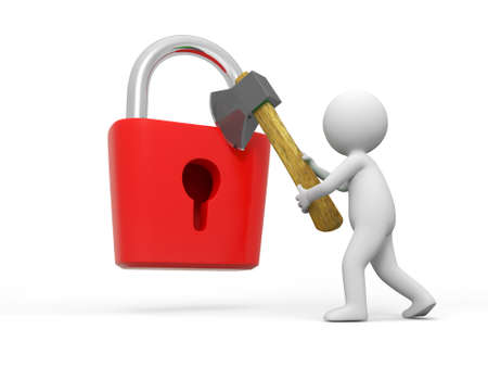 slot met sleuteltje: Slot en sleutel Een volk het openen van een slot met een bijl
