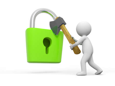 Lock and key A people open a lock with a axe Stock Photo - 15431758