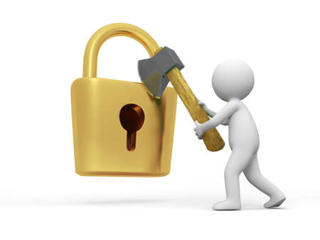 Lock and key A people open a lock with a axe Stock Photo - 15431788