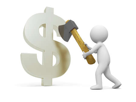 Dollar sign A people cut a dollar sign with a axe Stock Photo - 15431768