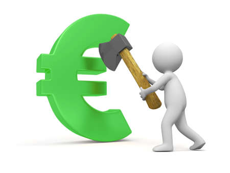 Euro Symbol A People Cut A Euro Symbol With A Axe Stock Photo