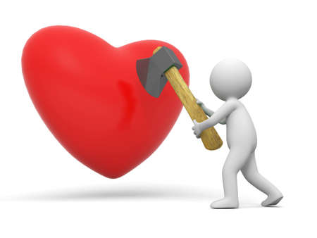 Love A people cut a heart with a axe Stock Photo - 15431771