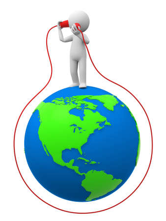 telephony: Phone communication A people in listening to call on the earth