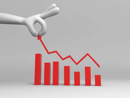 orange arrow: Chart  line graph  A big hand in control a line Chart Stock Photo