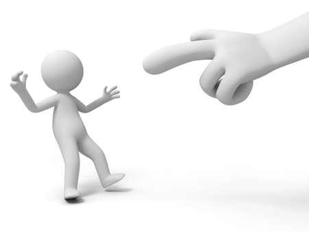 Angeklagten zu kritisieren Eine Hand in der Angeklagten eine Person