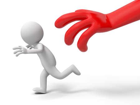 run away: Escape  run away  catch  A big hand catch a person