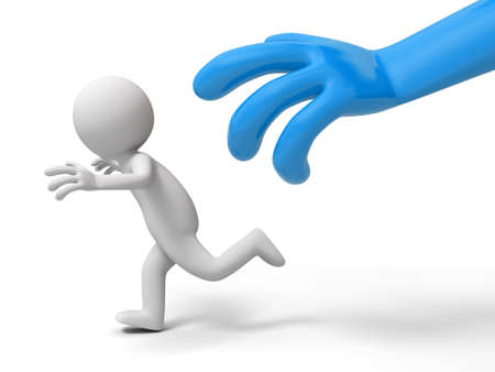 Escape  run away  catch  A big hand catch a person Stock Photo - 15431316