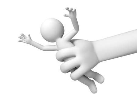 villain: Escape  run away  catch  A big hand catch a person