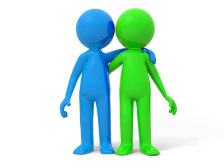 amistad: Socios en la cooperación del equipo de dos hombres de pie junto