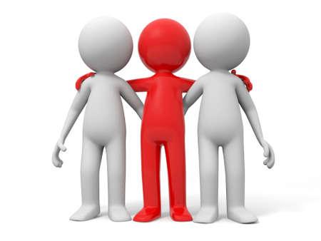 mejores amigas: Socios en la cooperaci�n del equipo de tres hombres de pie junto