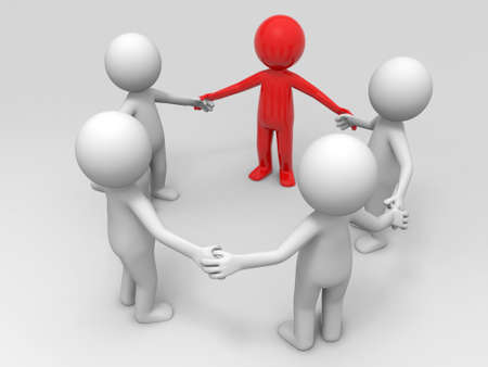 family man: Cooperation partner team  Five people stand together hand in hand Stock Photo