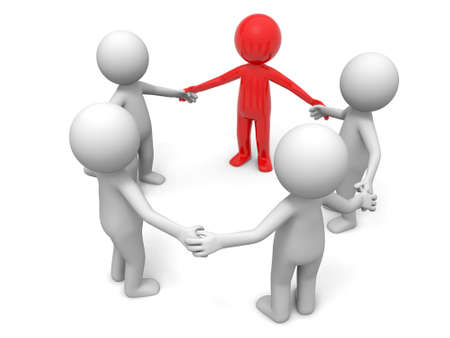 Cooperation partner team  Five people stand together hand in hand Stock Photo