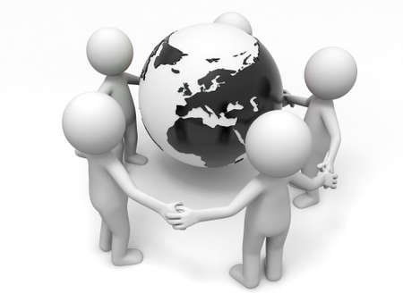Cooperation partner earth  Five people stand together hand in hand Stock Photo - 15431157