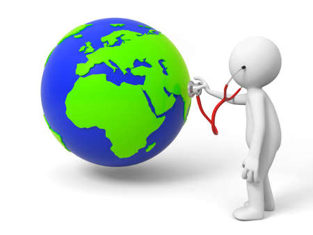 doctor examine: Diagnose environmental protection  earth a people diagnose the earth Stock Photo