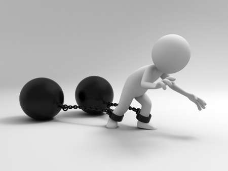 local government: The prisoner burden  A people dragging two heavy metal balls