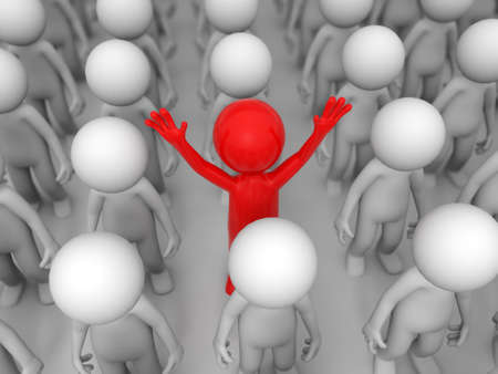 special individual: Winner red people among crowd of white  fellows