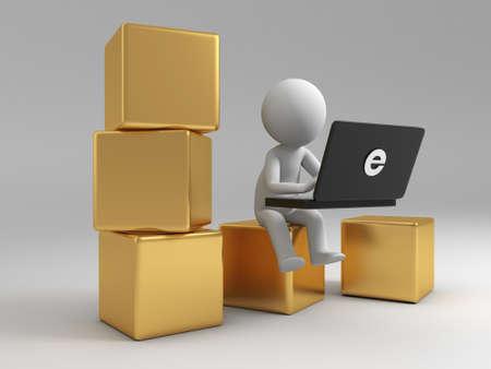 handel: Online-Handel Ein Volk ist, um den Computer auf mehreren Boxen verwenden Lizenzfreie Bilder